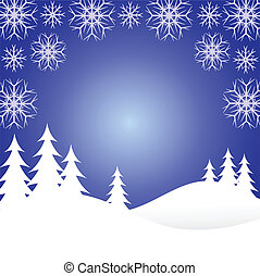 A winter background illustration with snow covered christmas...