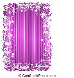 grunge christmas frame with snowflakes on a mauve background