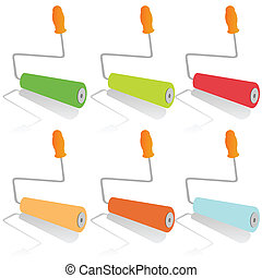 painting roller in mix color vector