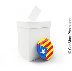 referendum in Catalonia on a white background 3D...