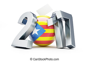 referendum in Catalonia 2017 on a white background 3D...