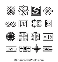 Chinese ornament icon,vector set