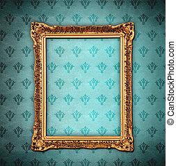 Golden frame over grunge wallpaper - Golden frame over...