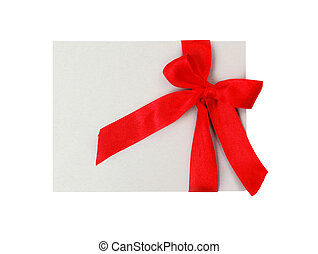 Gift tag with red ribbon isolated