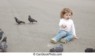 Girl feeds the pigeons - The park girl feeds pigeons with...