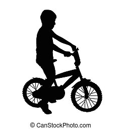 Young boy on bike silhouette on white background, vector...