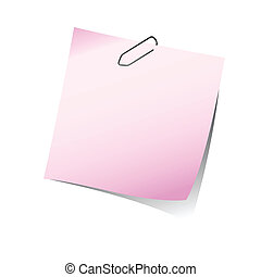 pink reminder note with paper clip
