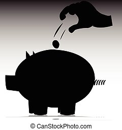 piggy bank vector silhouettes