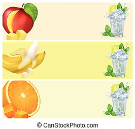 Mojito Glass and Fruits Isolated illustrations - Glasses of...
