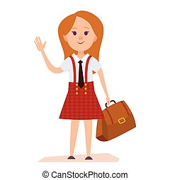 Young Girl in School Uniform With Bag Illustration