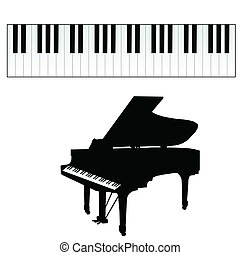 piano, llaves, vector, Ilustración