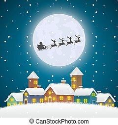 Christmas Santa Claus flying on a Sleigh Over the Winter Village