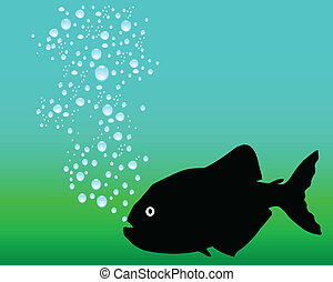piranhas black vector silhouettes