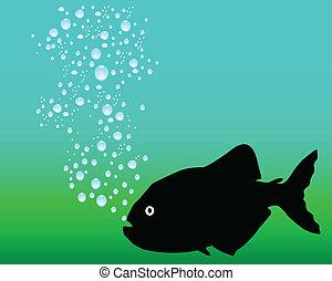 piranhas black vector silhouettes