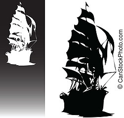 pirates ship black and white vector silhouettes
