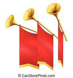 Three Musical Golden Trumpet Decorates Red Flags - Three...