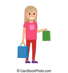 Blond Girl with Bags Illustration. Shopping Time - Girl...