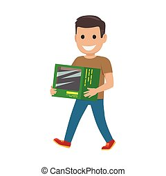 Boy with Green Box Illustration. Shopping Time - Boy goes...