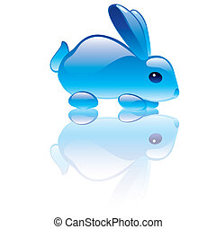 Print - Vector illustration of rabbit symbol. Blue...