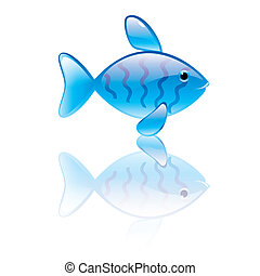 Print - Vector illustration of fish symbol Blue transparent...