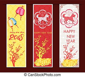 Set Banners with Chinese New Year Dog, Blossom cherry...