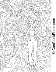 nice girl for coloring book