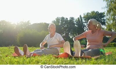 Cheerful aged couple finishing their warm up exercises -...