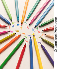 Top view of strokes painted isolated between markers - Top...