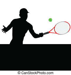 playing tennis vector silhouette