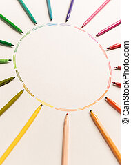 Circle with colorful markers making gradient - Circle with...