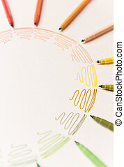 Circle with light colorful markers making gradient - Circle...