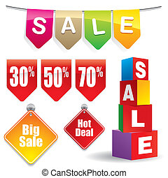 Sales - Sale and discount banner and signs.
