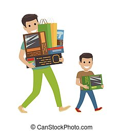 Father and Son Doing Shopping Hold Purchases. - Father and...
