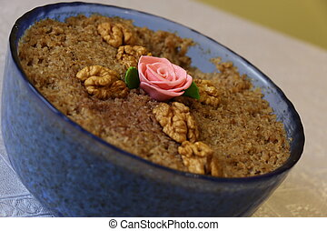 Cooked Wheat Berries in blue glass bowl decorated with...