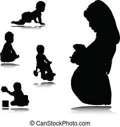 pregnant mother with baby vector silhouettes
