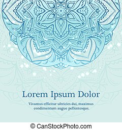 Flower mandala background in blue color with place for text