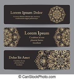 Banner templates with flower mandala ornament in gold color