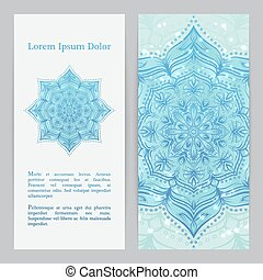 Flyer template set with flower mandala in blue color