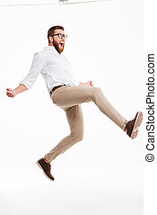 Handsome young bearded man jumping - Photo of handsome young...