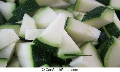 Closeup of chopped zucchini with selective focus