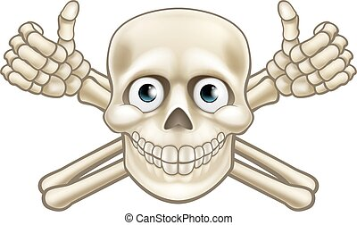 Cartoon Pirate Skull and Crossbones Thumbs Up - Cartoon...