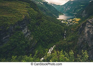Geiranger and Geirangerfjord Scenery. Cloudy Summer Day