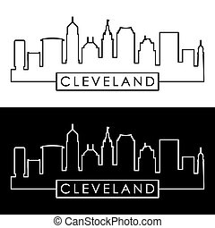 Cleveland linear skyline. Line art. Editable vector file.