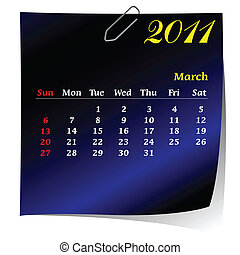 reminder calendar for March 2011