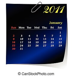 reminder calendar for January 2011