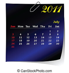 reminder calendar for July 2011