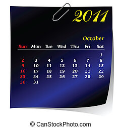 reminder calendar for October 2011