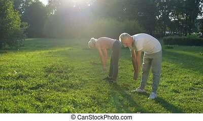 Cheerful aged couple enjoying morning exercises - Happy...