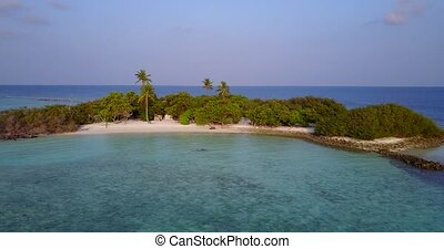 v05548 Aerial flying drone view of Maldives white sandy...