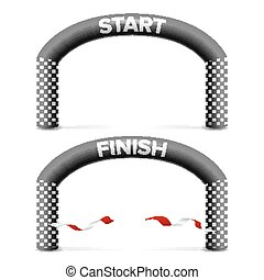 Finish, Start Line Arch Isolated Vector. Sport Event....
